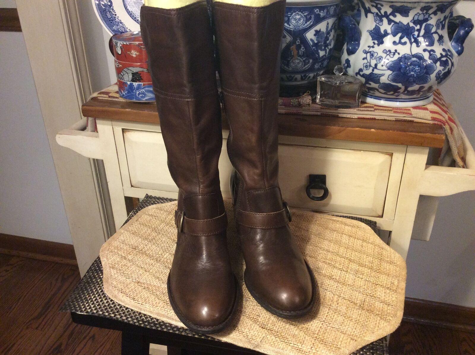 Born Brown Leather zip Tall Knee High Heel Buckle Boots Women's Us12/ 44