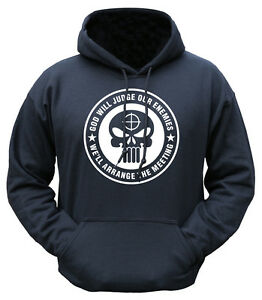 GOD WILL JUDGE OUR ENEMIES HOODIE MENS M-2XL FUNNY INFIDEL NOVELTY HOODY SNIPER