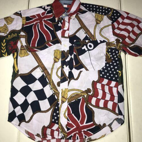 D1 TOMMY HILFIGER FLAG PRINT BUTTON UP SHIRT LOTUS VINTAGE 1994 BOYS SMALL