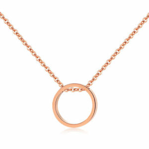 Circle-Rose-Gold-Plated-Clavicle-Stainless-Steel-Pendant-Chain-Necklace-Quality