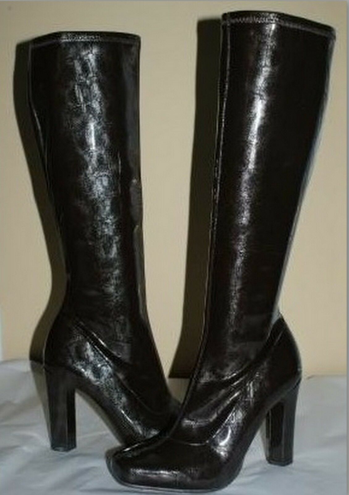 BCBGIRLS DINAY DARK BROWN STRETCH SHINNY PATENT LEATHER KNEE HIGH BOOTS 7
