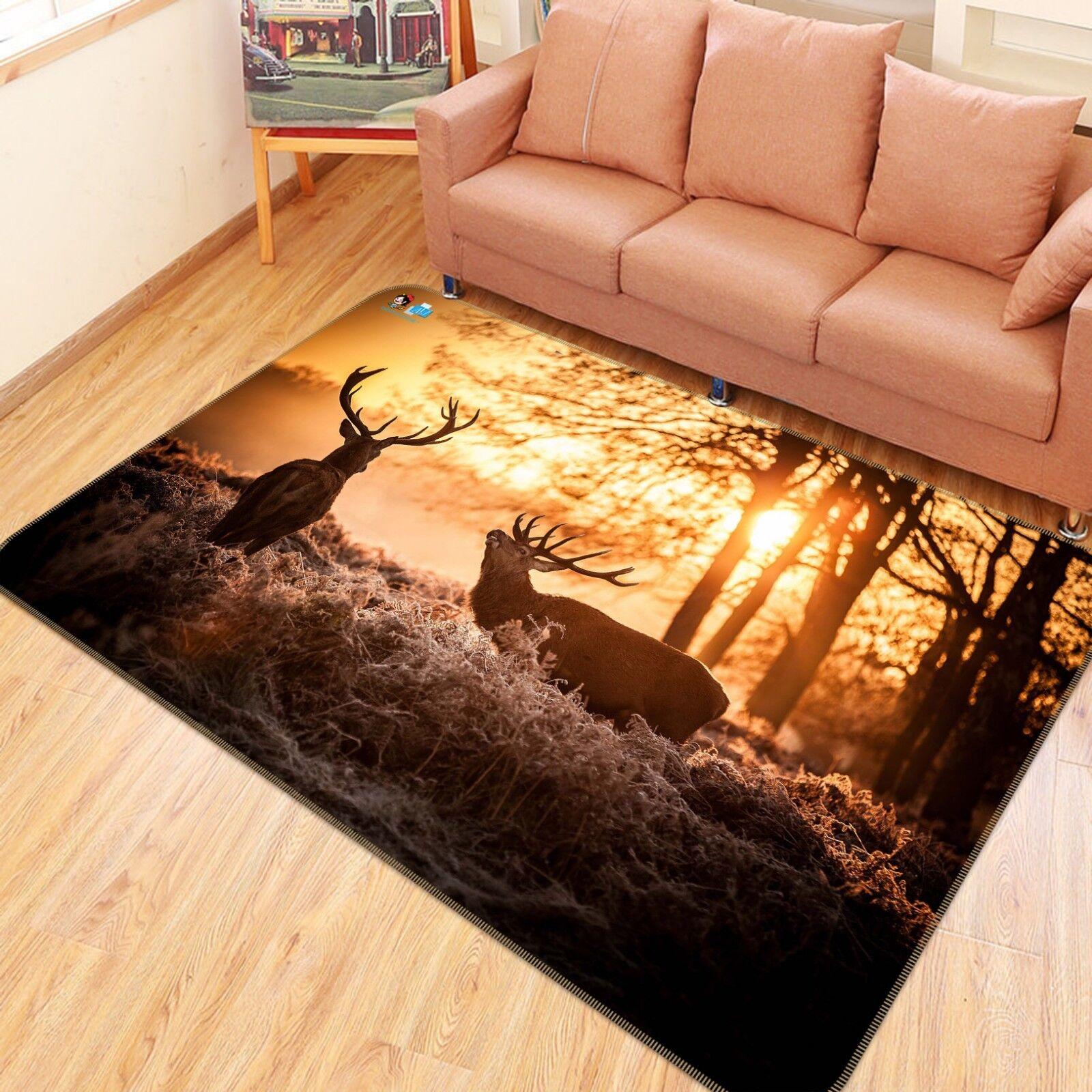 3D Sunrise Deer 773 Non Slip Rug Mat Room Mat Quality Elegant Photo Carpet US