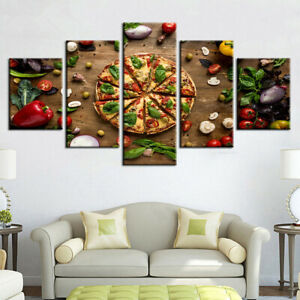 framed pizza  spices 5 pieces canvas print painting wall