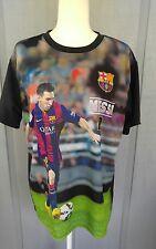 FCB  Lionel Messi #10 Photo Print Qatar Airways Barcelona T-Shirt Mens XL Soccer