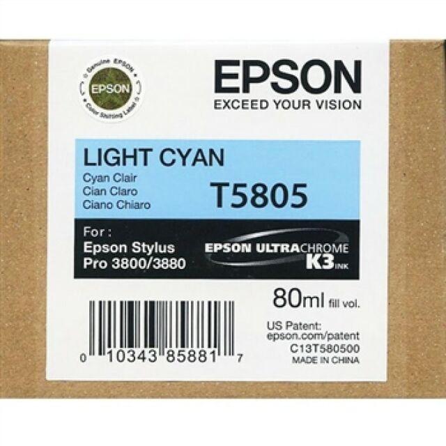 GENUINE AUTHENTIC EPSON T5805 LIGHT CYAN INK CARTRIDGE C13T580500 80ML