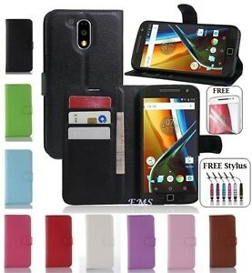 Wallet-Leather-Flip-Card-Holder-PU-Case-Cover-For-Motorola-Moto-G4-Plus-XT1642D