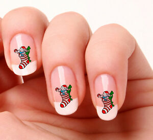 Image Is Loading 20 Nail Art Stickers Transfers Decals 494 Christmas