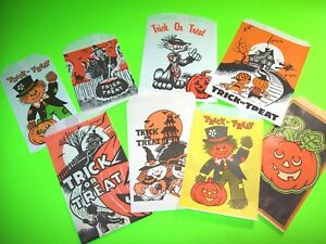 8-Vintage-NOS-Halloween-Trick-Or-Treat-Candy-Bags-Witch-Black-Cat-Bats-Spooky
