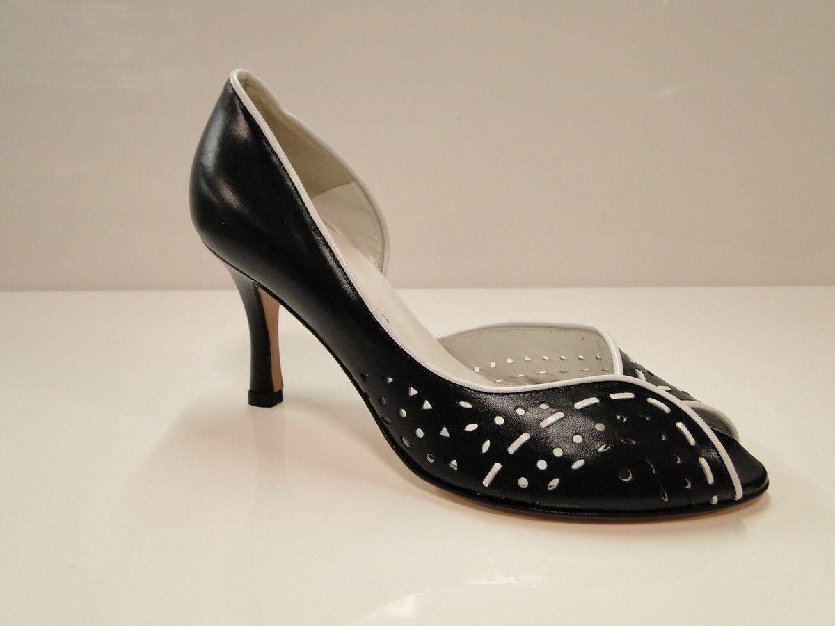 Sabrina Chic Womens Navy Peep Toe Heel Court Shoes UK 3 / EU 36 (2554 Cap 4011)