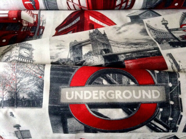 """LONDON Designer Curtain Upholstery Cotton Fabric Material 55""""/140cm wide canvas"""