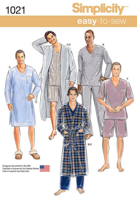 Simplicity Easy Sewing Pattern 1021 Mens Robe & Nightshirt or ...