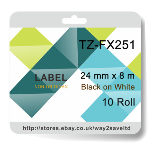 10 compatible with Brother TZFX251 Laminated flexible Label Black//White 24mmx8m