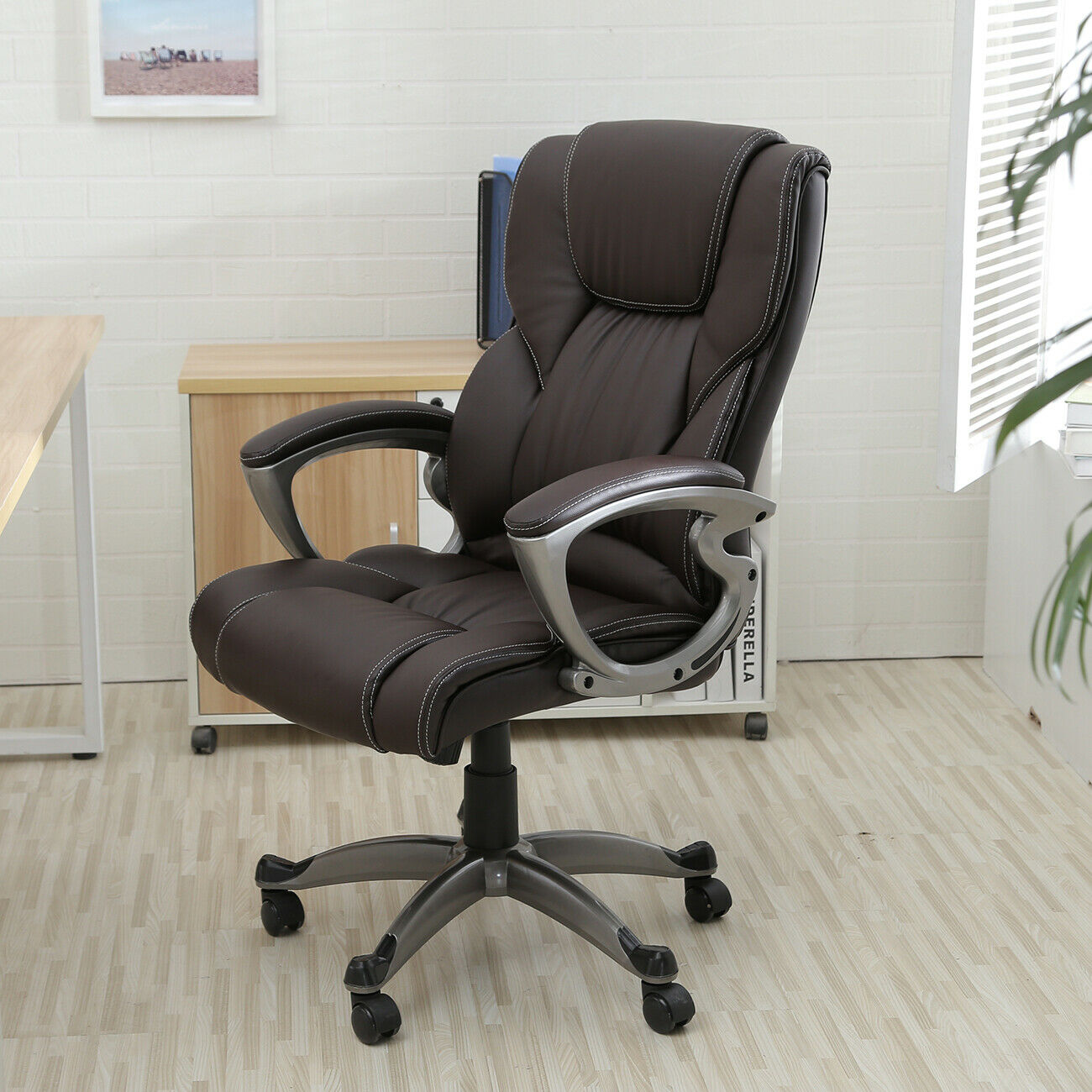 Staples Osgood 22298 Brown Bonded Leather High Back Office Chair For Sale Online Ebay