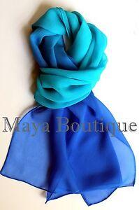 Matching Silk Neck Tie /& Scarf Hand Dyed Blue Turquoise Ombre Maya Matazaro