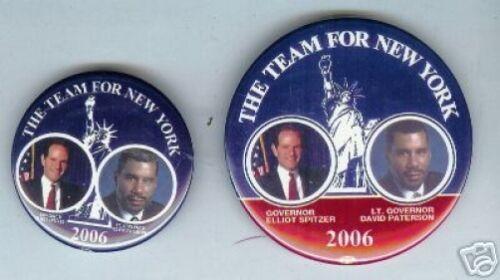 2 ELLIOT SPITZER pins New York 2006 David Paterson