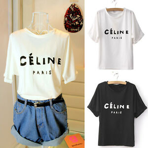 S-M-L-XL-Women-039-s-Letters-Print-Round-Neck-T-shirt-Shirt-Top-Blouse-Black-White-O