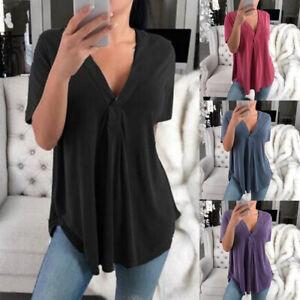 Damen T shirt V ausschnitt Tunika Bluse Kurzarm Lose Tops