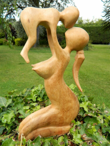 Hand Carved  Abstract Figure 30cm Mother /& Child Wooden Mother /& Baby Carving