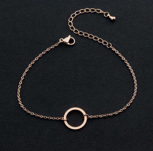 Señora pulsera anillo círculo redondo Infinity cadena de acero inoxidable brazalete joyas