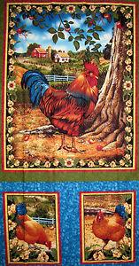 Rooster-Fabric-Chicken-Farm-Bird-Hen-Bershire-Farm-Liz-Dillon-VIP-Panel
