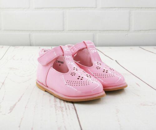 Niños Bebé Infantes Niñas Brillante T-Bar Español Boda Fiesta Patente Todler Zapatos Talla