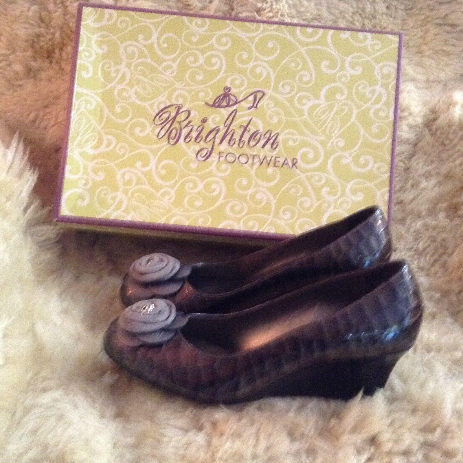 Brighton Women's shoes NIB size 9.5 9 1 2 harem pewter patent crocodile  leather