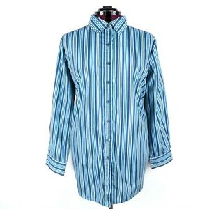 c854f2f22a Roaman's Womens Button Up Long Sleeve Shirt 1X Multicolor Stripe ...
