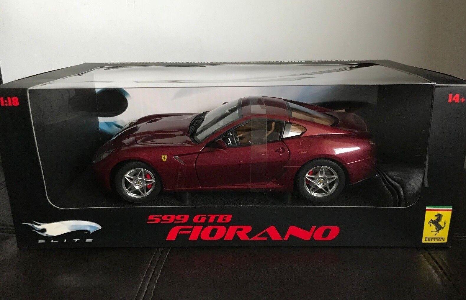 1 18 Hot Wheels Elite Ferrari 599 GTB Fiorano Borgoña Diecast Modelo de Coche Nuevo