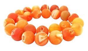 Drusenachat-14-mm-orange-Kugeln-Achat-Perlen-z-T-mit-Drusen-Kristallen