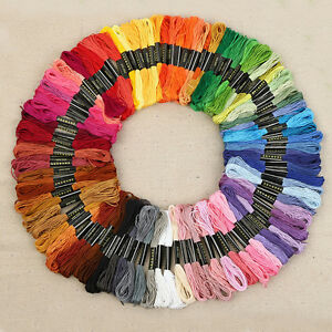 50 Mixed Colors Cross Stitch Cotton Embroidery Thread Sewing Skeins Floss Kits