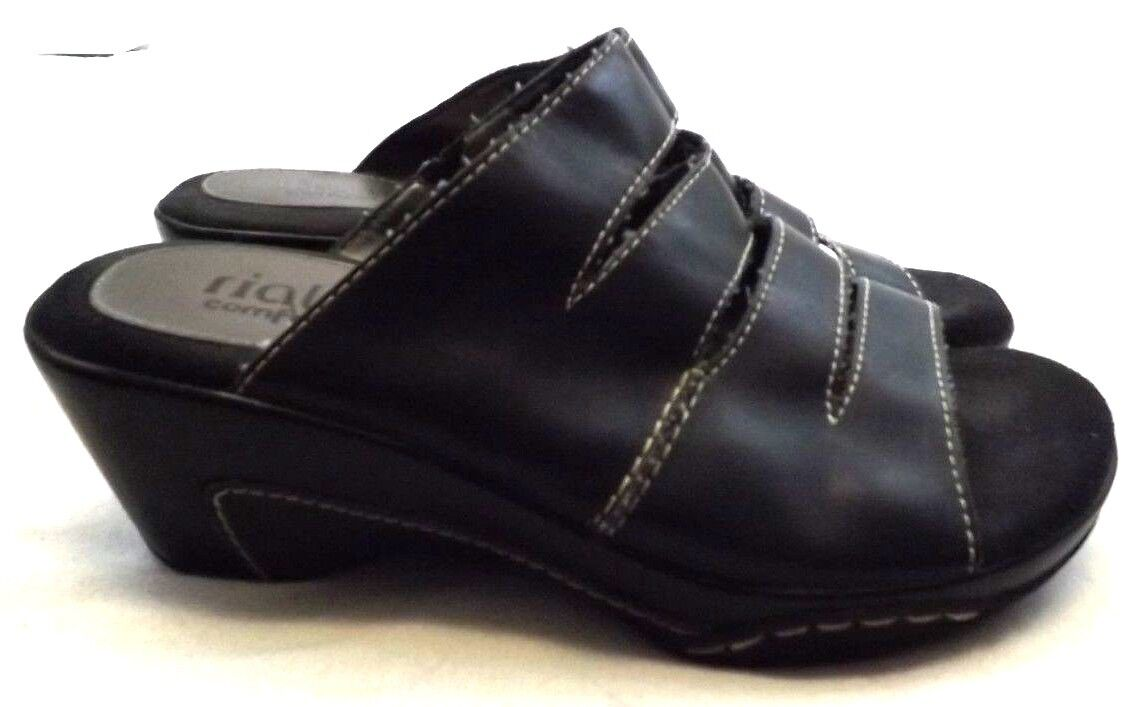 RIALTO EVEREST WEDGE Heels SANDALS Shoes 7 Suede M BLACK FAUX Leather Suede 7 ded684
