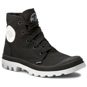 NEW-IN-BOX-PALLADIUM-Blanc-Hi-Unisex-Black-White-Lace-Up-Hiking-Boots