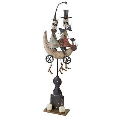 Whimsical Skeleton Couple on a Moonlit Ride Distressed Metal Halloween Decor