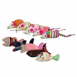 42 pièces   Souris et poisson, Peluche / Tissu 9–12cm - Peluche Catnip en tissu colorée