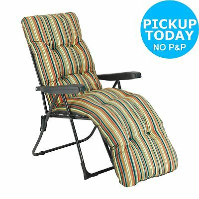 Multi-Position Steel Sun Lounger with Cushion - Striped. From Argos on ebay