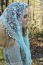 NEW Classic Mantilla Light Blue Embroidered Chapel Veil Triangle Free Ship