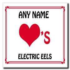 Love Heart Electric Eels Personalised Coaster