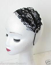 Flapper 1920s Black Silver White Feather Headpiece Vtg Headband Fascinator N60