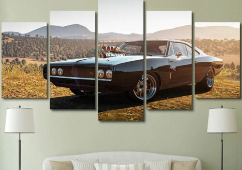 1970 Dodge Charger RT Car 5 Pieces Canvas Wall Art Poster Print Home Decor