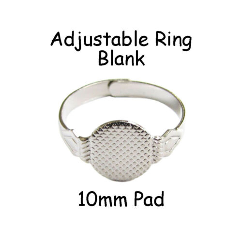 25 adjustable ring blank findings w/ 10mm glue on pad