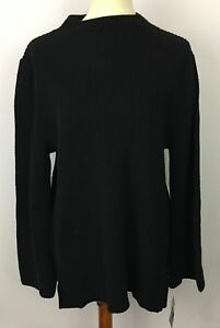 Macys Style Co Black Ribbed Knit Pullover Sweater Size Xl New Ebay
