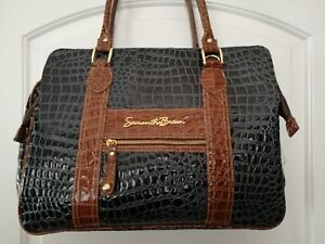 Samantha-Brown-Navy-Blue-Brown-Soft-Briefcase-Croc-Embossed-5-Section-Tote-Bag