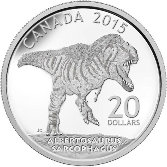 2015 'Albertosaurus' Dinosaur Proof $20 Silver Coin .9999 Fine (15284) (NT)