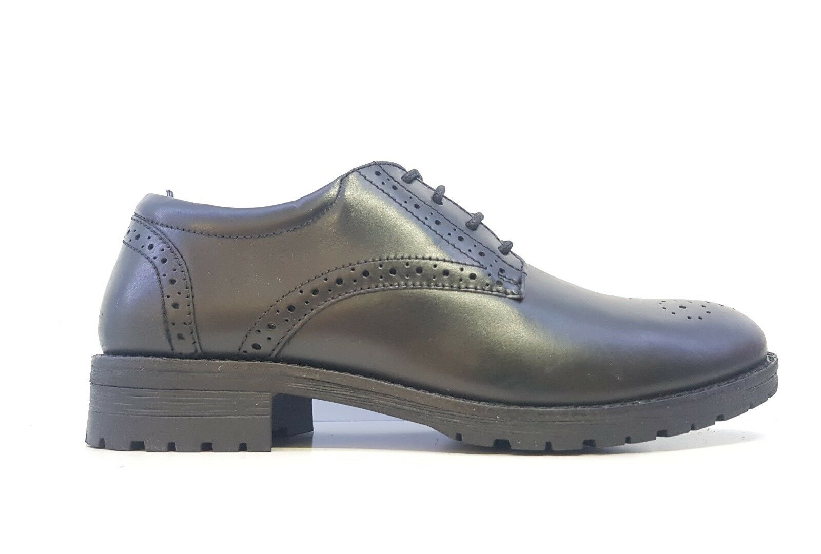 5th Avenue Ladies Black Leather Lace Up Brogues Size UK 4
