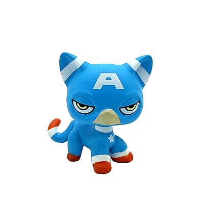 Pet Shop LPS Toy OOAK LPS Cat SUPER HERO Captain America Figure