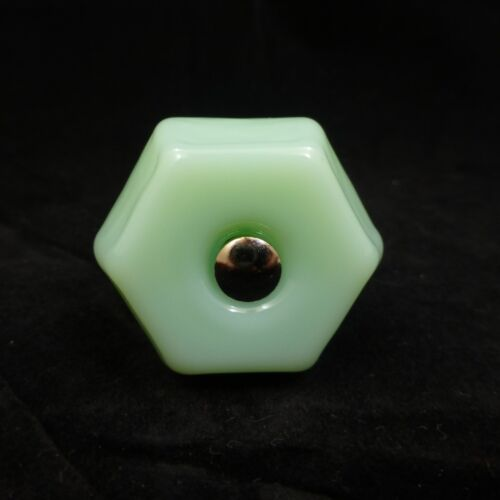 "5 LARGE 1.5/"" JADEITE GREEN GLASS Kitchen Cabinet Drawer Knobs Depression Vintage"