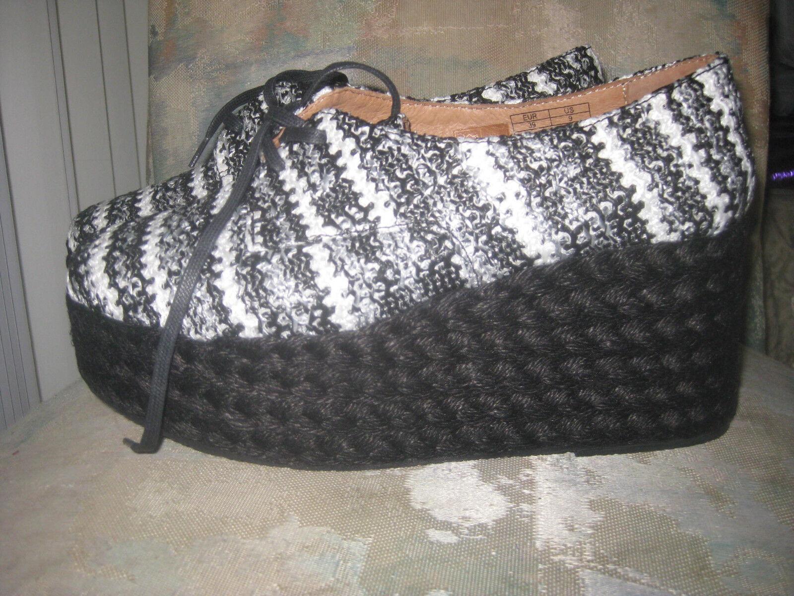Jeffrey campbell  shoes  new platform raffia lace up size 9