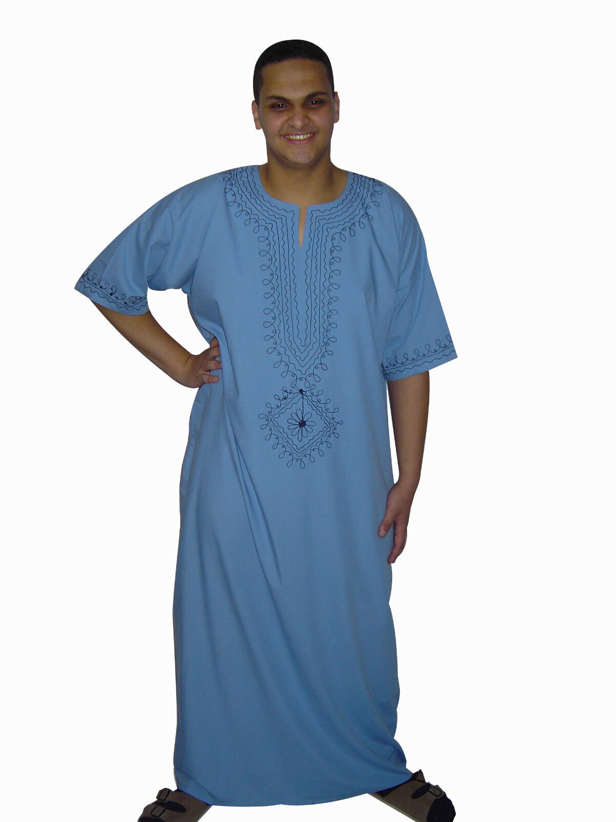 Modern Men's Caftan Housecoat Aus1001 Night Light bluee Kam00542
