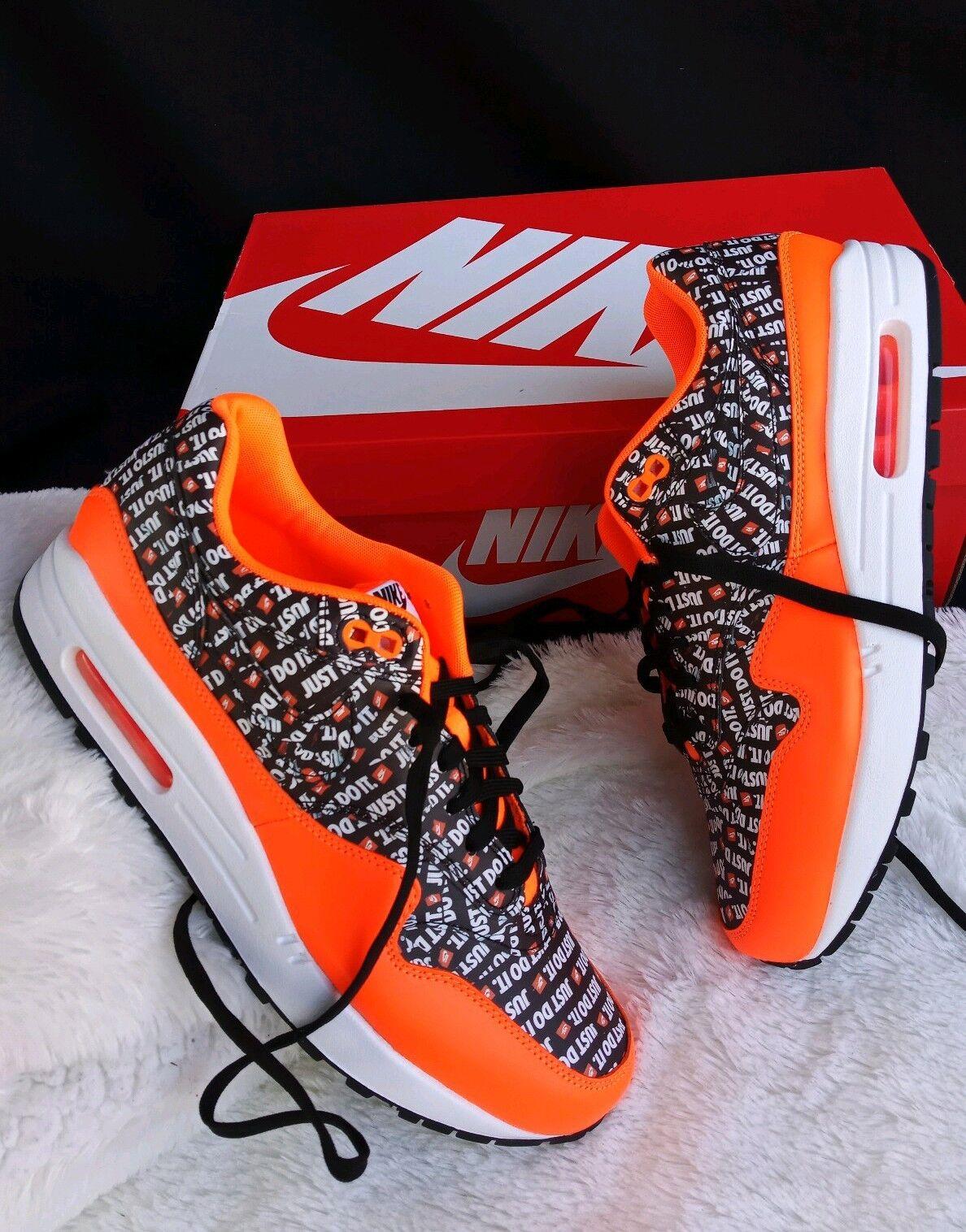 8.5 Men Nike Air Max 1 Premium Just Do It Black orange 875844-008 ALL PRINT LOGO