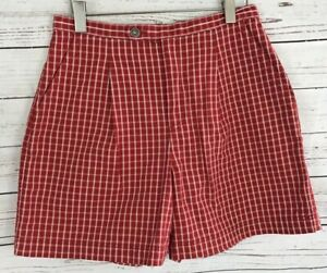 salvare flessibile O più tardi  Vintage Lizwear Red White Checkered Shorts High Waist Pleated Womens Size  12P | eBay